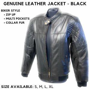 100% Genuine Leather Jacket For Mens Black Bikers Motorcycle Motorbike Jacket UK