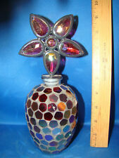 """Mosaic Stained Glass Bottle Home Decor With flower top 9"""" Tall @10"""