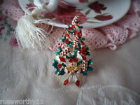 VINTAGE GOLD CHRISTMAS TREE BROOCH with ENAMEL BAUBLES XMAS PIN