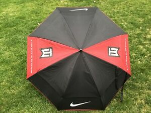 "Nike Golf Black & Red Auto Open 52"" Double Canopy Umbrella Tiger Woods"