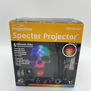 Gemmy Projection Multi-Color LED  Projector w/ Creepy Sounds Halloween Slides