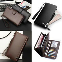 Men's Leather Zip Long Wallet ID Credit Card Holder Purse Bifold Clutch
