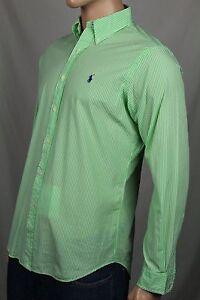 Ralph Lauren Green Cream Striped Classic Dress Shirt Purple Pony NWT