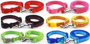 Dog Collar and Lead Leash Set Puppy XS Small Medium Nylon Clip Tough Strong Cute
