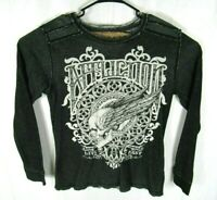 Affliction Sweater Mens Medium Reversible Long Sleeve Distressed Black White