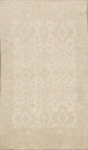 Muted Vegetable Dye Oushak Turkish Oriental Area Rug Distressed Hand-Knotted 4x6