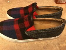 """Bettye Muller """"Bently"""" Flannel Slip On Sneaker NavyRed Plaid Gr/blk Herringbone"""