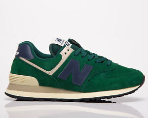New Balance 574 Men's Green Navy Low Casual Athletic Lifestyle Sneakers Shoes