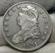1821 Capped Bust Half Dollar 50 Cents - Nice Coin Free Shipping (7148)