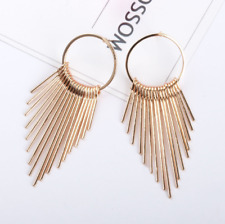 Women Ear Jewelry Drop Circle Chandelier Long Tassel Rhinestone Stud Earrings