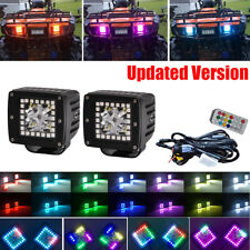 2X 3inch 24W Spot Led Work Light Cube Pods w/ Chasing RGB Halo Multi Color Kits