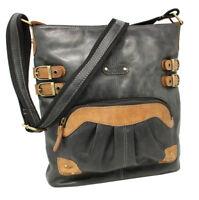 Echt Leder Damen Tasche Schultertasche Handtasche Umhänger Bag Schwarz Rot