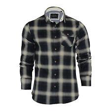 Mens Check Shirt Brave Soul Impala Flannel Brushed Cotton Long Sleeve Casual Top Blue / Ecru Medium