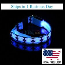Dog Collar LED Glow In The Dark (Blue/Blk/Wh) ~ Size M (Adjustable) ~  BRAND NEW