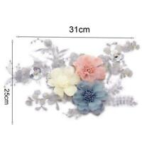 3D Flower Lace Applique Embroidery Trim Sewing Motif DIY Wedding Crafts