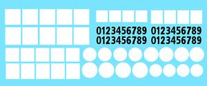DECALS Carré rond blanc decal 1/43 1/32 square chiffres race plate DÉCALCOMANIE