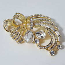 """3 1/2"""" brooch! Beautiful accessory! Dazzling Gold toned and clear stone"""