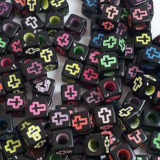 50pcs Black Neon-Lined Cross Acrylic Cube Beads Jewellery Crafts 6mm - B0121575