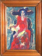 LUBA,active XXe.Femme au chapeau.1939.Gouache/papier.SBD.29x19.Daté.Cadre.