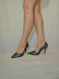 Dolcis Heels Court Shoes Women Lady Grey Metallic Real Leather Size 6