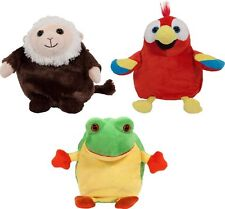 Plush Stuffed Animal Parrot Frog MonkeyToy 3 in 1 Reversible Cuddly Soft Pets