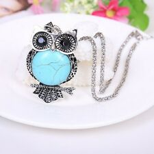 Fashion Jewelry Beautiful Owl Turquoise Natural tibet silver Necklace Pendant