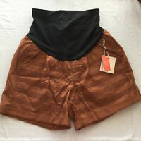 NEW A glow maternity shorts Size 14 brown cotton embroidered belly panel