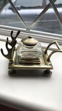Antique Brass Sleigh Inkwell And Pen Stand Complete With Ink Bottle And Lid
