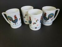 "Vintage Berggren Rooster Mugs ""Coffee Maketh Bright the Spirit"" Swedish Set of 4"