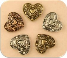 2 Hole Beads Hearts Ornate Raised Filigree 3T Silver Copper Gold ~ Sliders QTY 5
