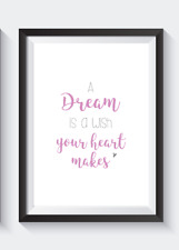 DISNEY princess bedroom A4 print A DREAM IS A WISH   -  Home decor grey and pink