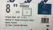 "Fhp Single Bowl 8"" (4) Hole Sink Model # Ss804bx Lot 2393"