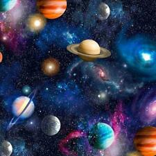 100% Cotton Fabric SPACE GALAXY UNIVERSE PLANET STARS Childrens Kids Material