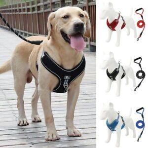 Dog Harness Reflective Pet Harness Vest Dog Leash Collar Breathable Walking Set