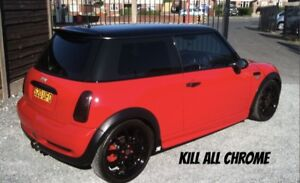 MINI R53 R50 GLOSS BLACK BELT LINE KIT DE CHROME R52 COOPER S BLACK OUT DECAL