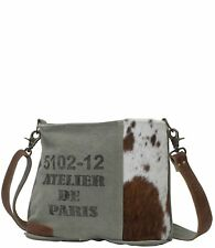 d704608db8 Chic Segmented Cross Body Bag | 90 Cotton Canvas 10 Hair on Genuine Leather