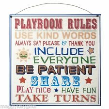 Playroom Rules Metal Hanging Sign - Childrens Kids Wall Door Bedroom Colourful