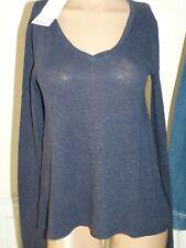 American Vintage S Kobibay Long Sleeve Blue Cotton Top T-Shirt V Neck Blouse 10