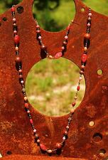 Brass tone linked glass wood beads brown red tones NECKLACE