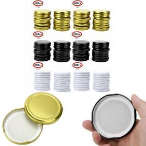 20x Metal Secure Storage Caps Lids Silicone Seals Leak Proof Cover for Mason Jar