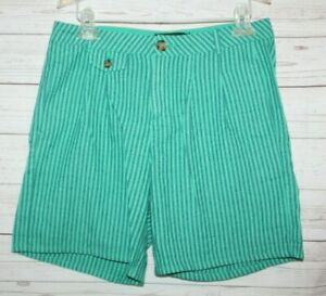Nanette Lepore Women's Shorts Green Navy blue Stripe Trouser Shorts Linen Size 4