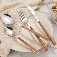 Set Stainless Steel Tableware Spoon Fork Cutlery Wood Handle Dinnerware Knife