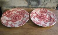 """Vintage Johnson Bros. ENGLISH CHIPPENDALE RED / PINK 6 3/8"""" BREAD PLATE set of 2"""