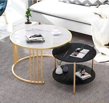 Imitation Marble Nested Coffee Table Round Metal Frame Side Bedside Table 1&2PCs