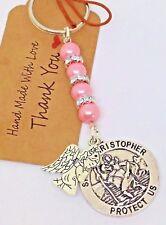 St Christopher & Guardian Angel Keyring, Protection charm, keepsake, traveller