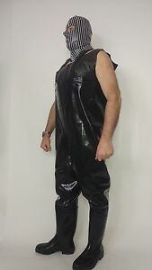 """BLACK RUBBER STRONG 2-3MM WADERS BOOTS-PANTS  SIZE 9-12- HEELS 0""""- POLAND"""
