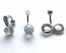Set 3 or choose Belly bars bar navel ring body piercing crystal surgical steel