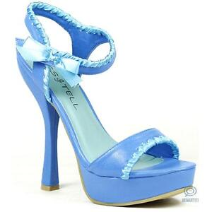Ladies Blue Sandal Open Toe High Heels Platform Stiletto Sexy Formal Party Shoes