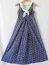 Vtg Keone Sportwear Hawaii Dress Maxi Empire waist Navy Blue Cotton Size M