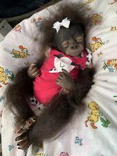 Ooak Reborn newborn baby Girl  Gorilla Ape Lonely reborn baby  Art doll